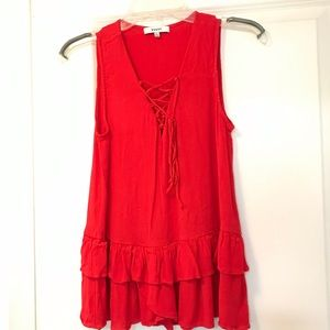 Red tank top with tie and ruffles
